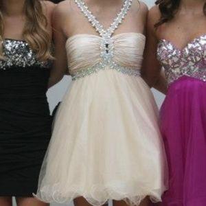 Night Moves Cream Prom/ Homecoming Dress